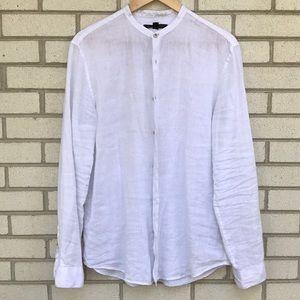 John Varvatos linen white Band Collar Medium shirt